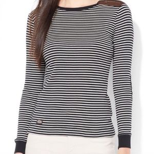 Lauren RL Lauren Elbow Patch Striped Top Sweater L